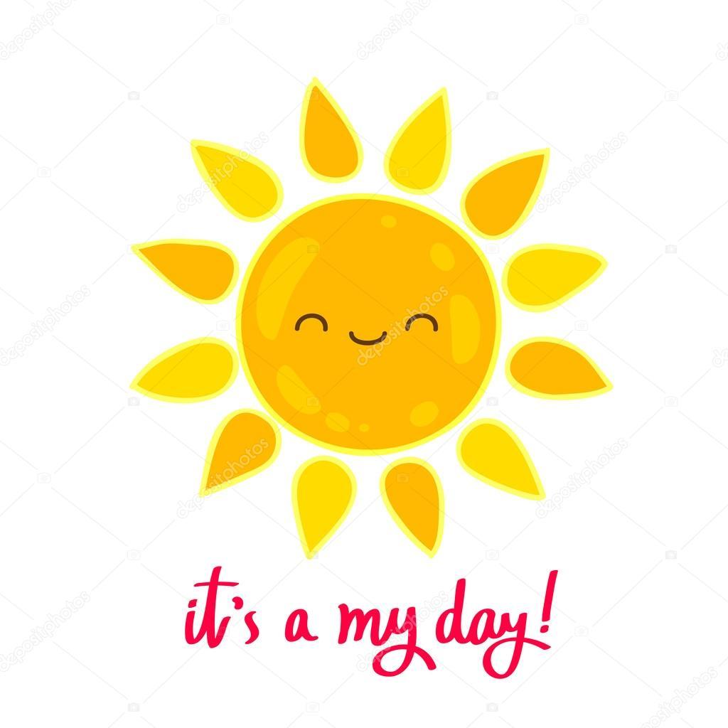 大きなかわいい太陽と言葉が私の一日 — ストックベクター © chekat
