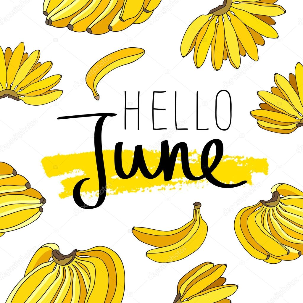 こんにちは、6 月。おしゃれな書道 — ストックベクター © chekat #107015844