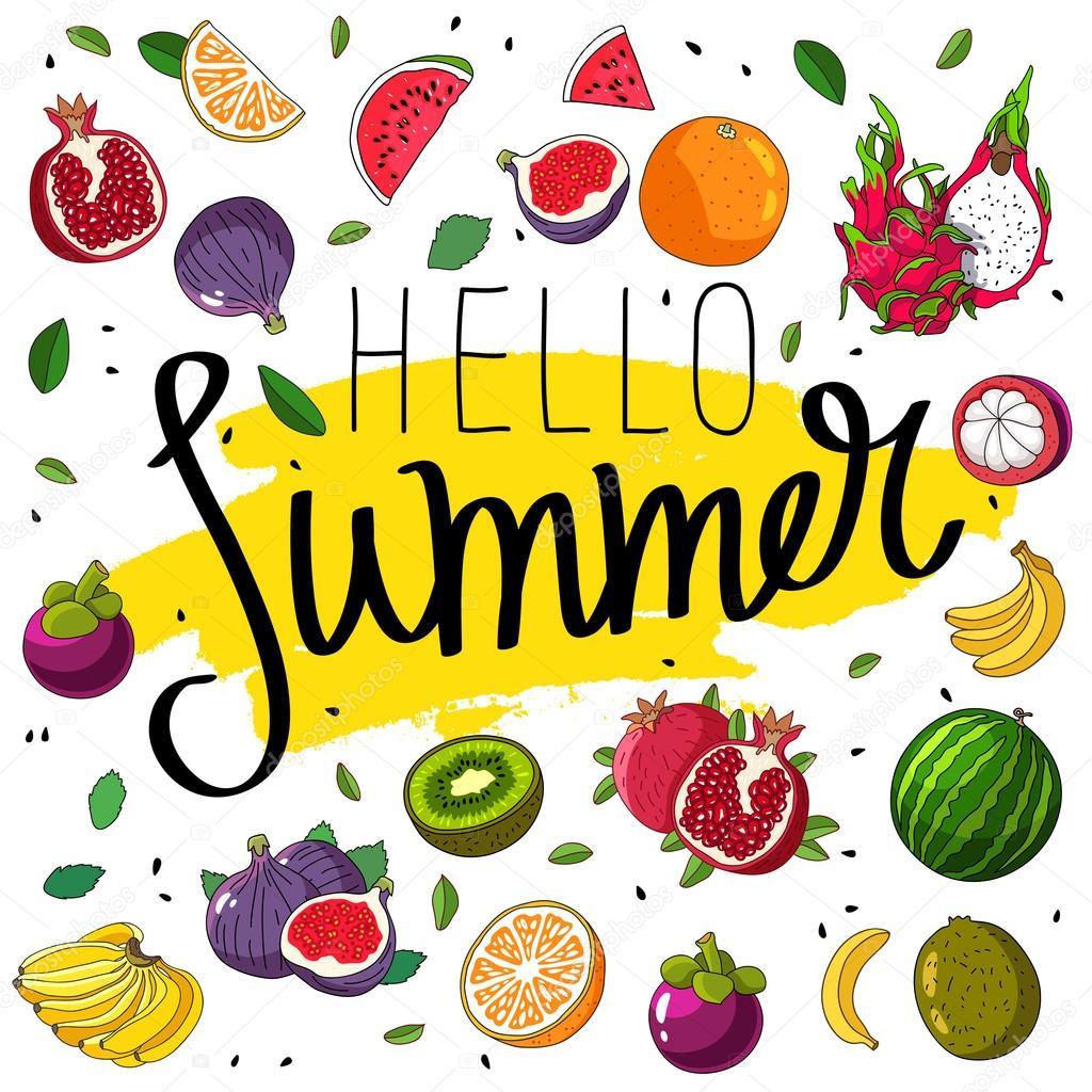 こんにちは夏を引用します。おしゃれな書道 — ストックベクター © chekat