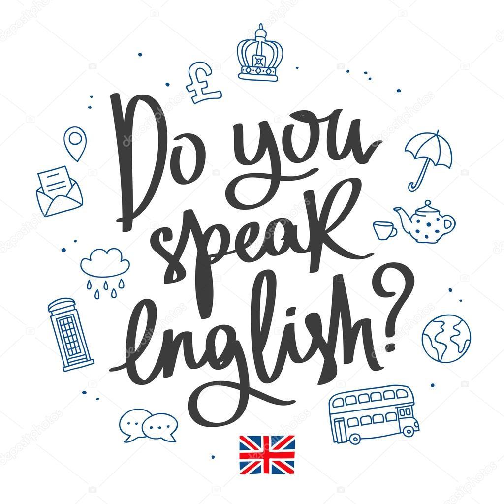 英語を話しますか。おしゃれな書道 — ストックベクター © chekat #107859726