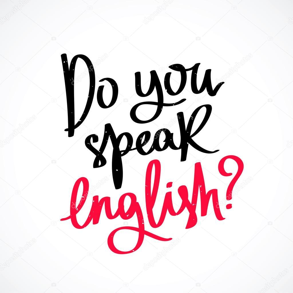 英語を話しますか。おしゃれな書道 — ストックベクター © chekat #107859882