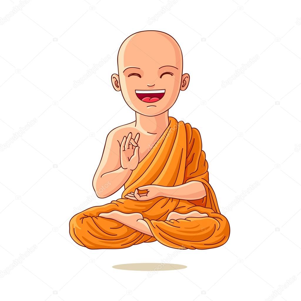 Buddha. Little Monk. Little boy in the lotus position.