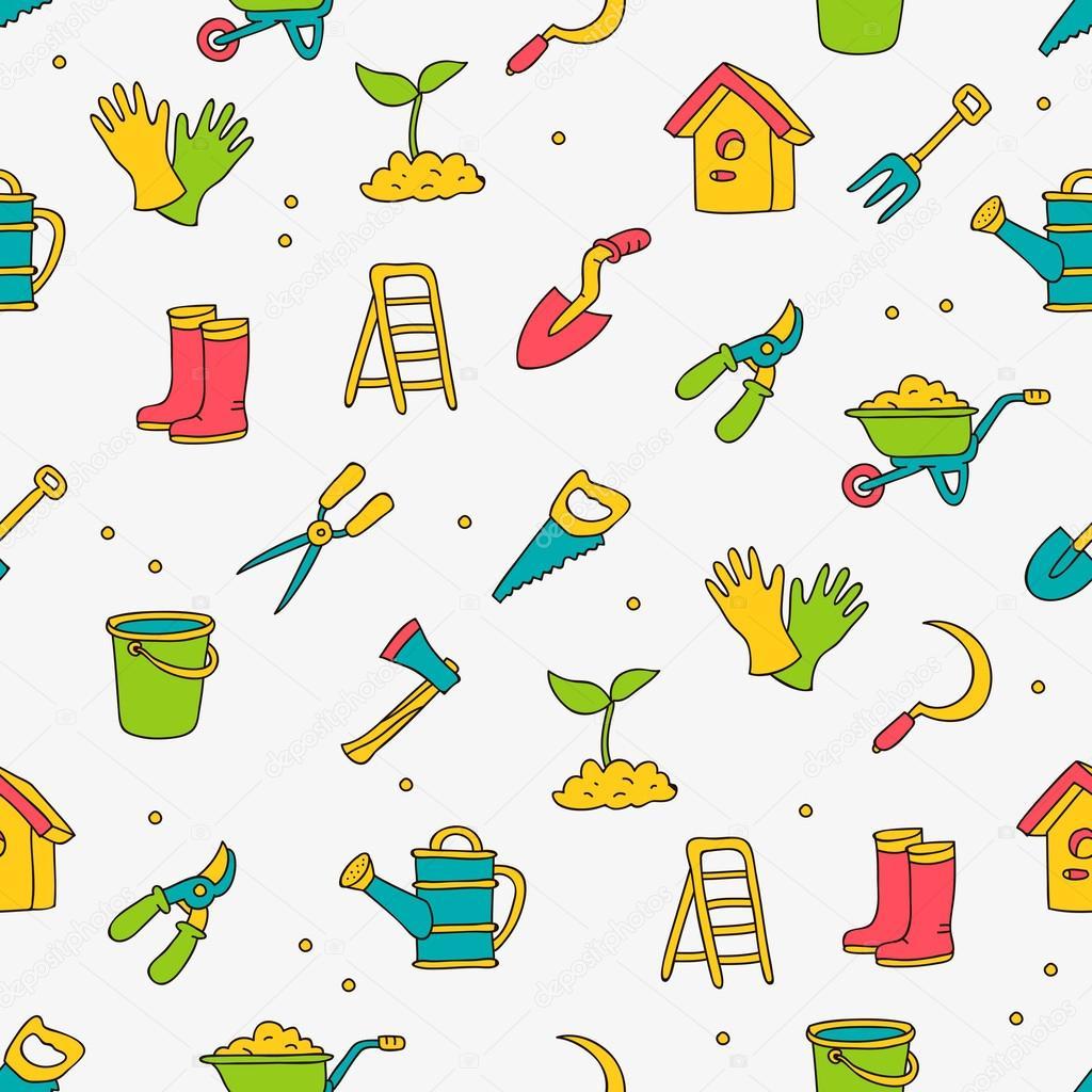 Modèle vectorielle continue d\'outils de jardin — Image vectorielle ...