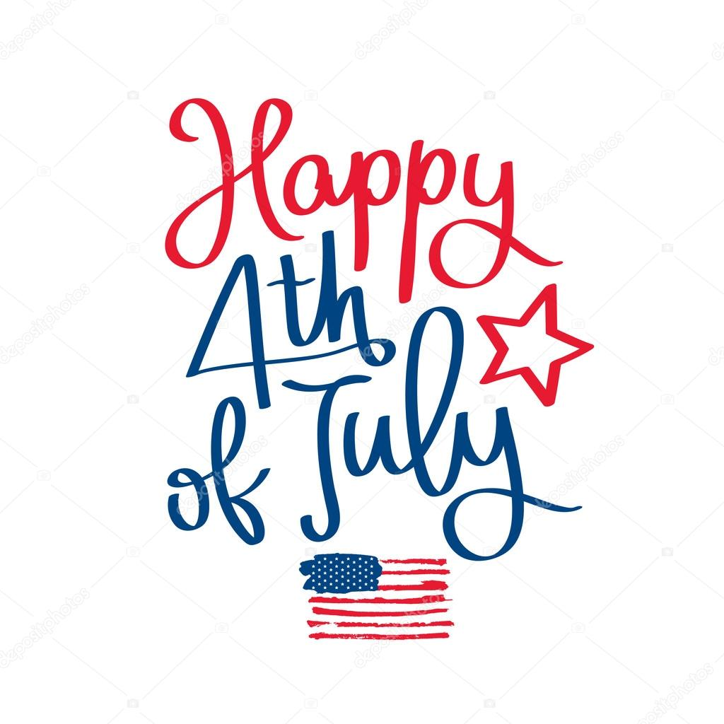 Happy 4th Of July. The Trend Calligraphy