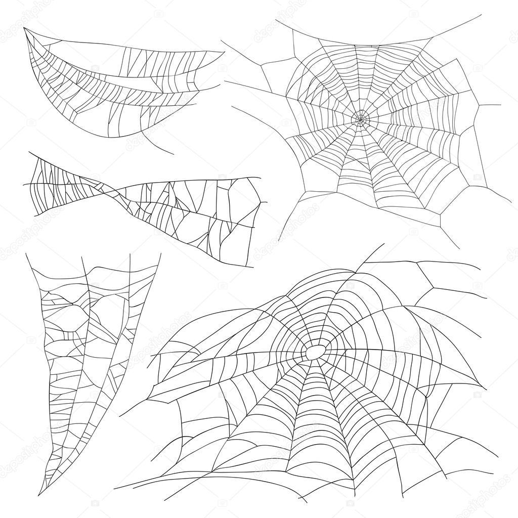 Set of different spiderwebs