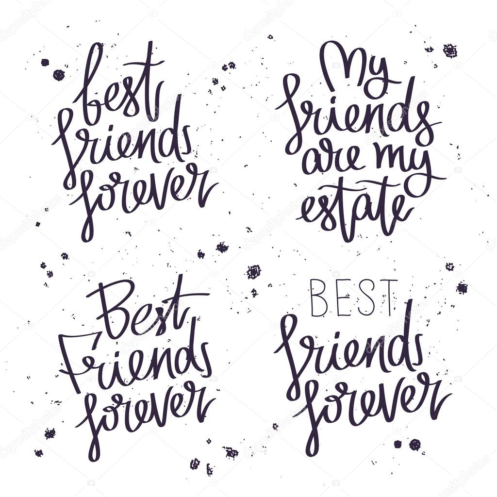 Best Friends Forever Trend Calligraphy Stock Vector C Chekat
