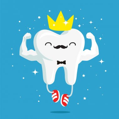 Happy healthy and strong tooth with gold crown