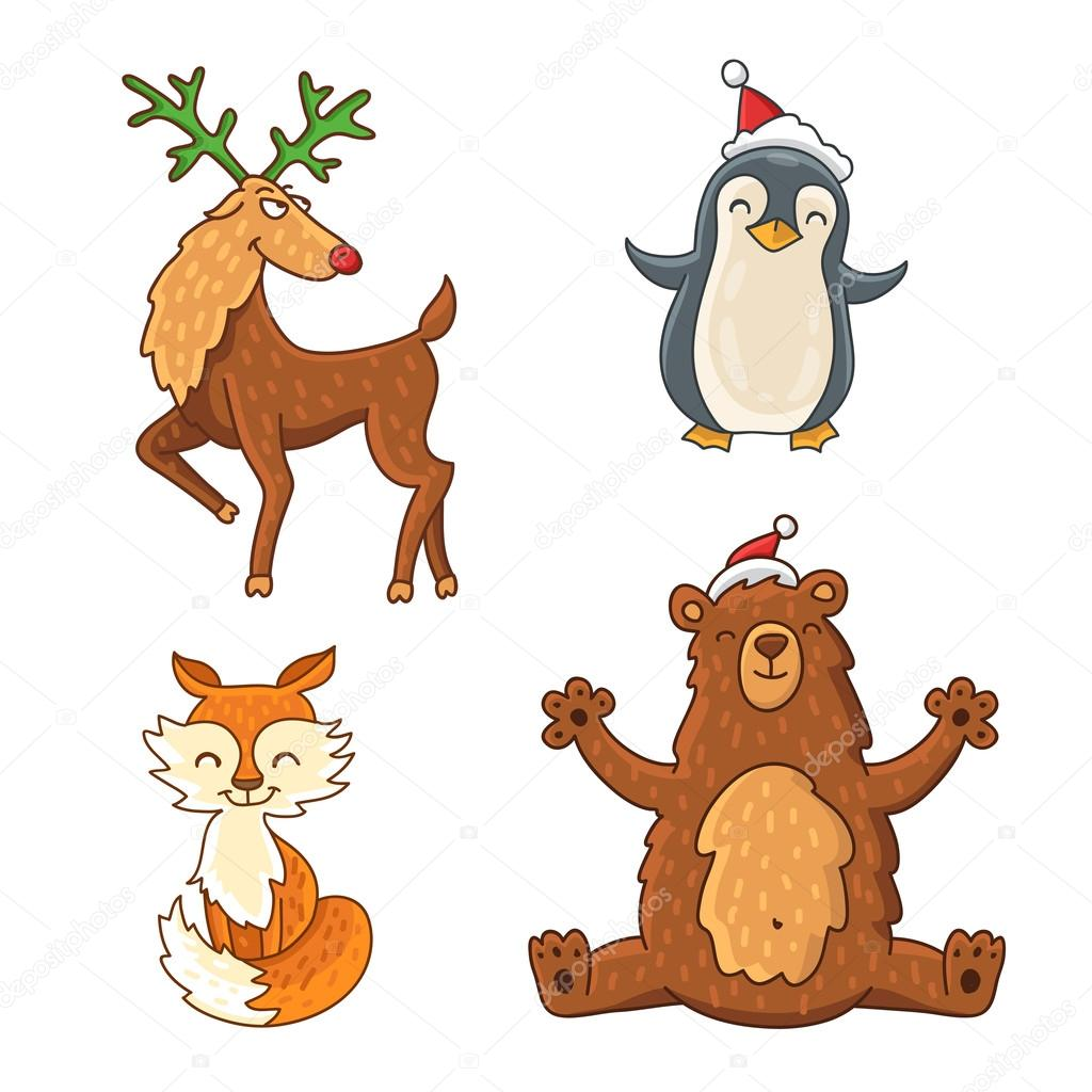 Cute And Funny Christmas Animals Fox Bear Penguin Reindeer On A White Background Vector Illustration By Chekat