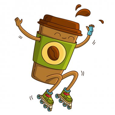 Cup of coffee riding on roller skates