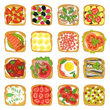 A set of products for sandwiches.