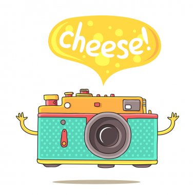 Cute camera with his hands and says