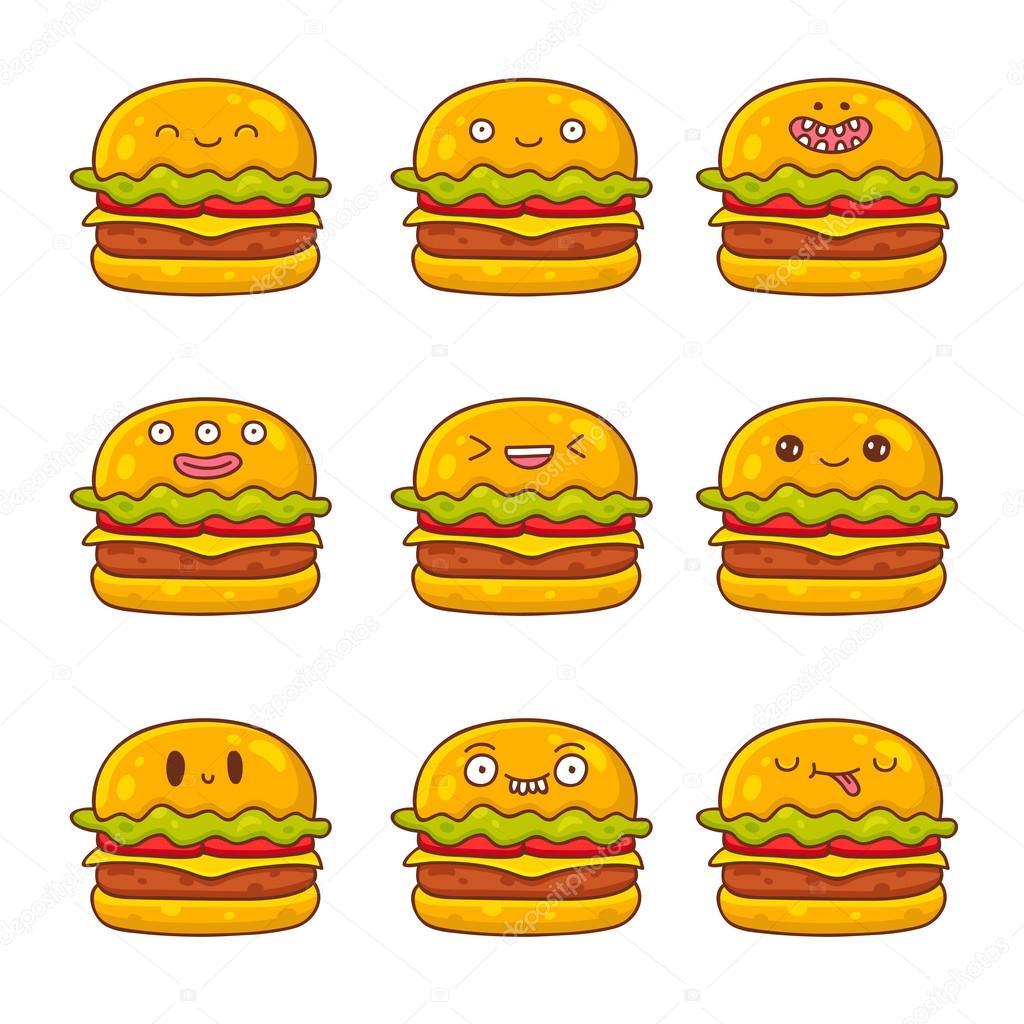 さまざまな感情の可愛くて面白いハンバーガー ストックベクター