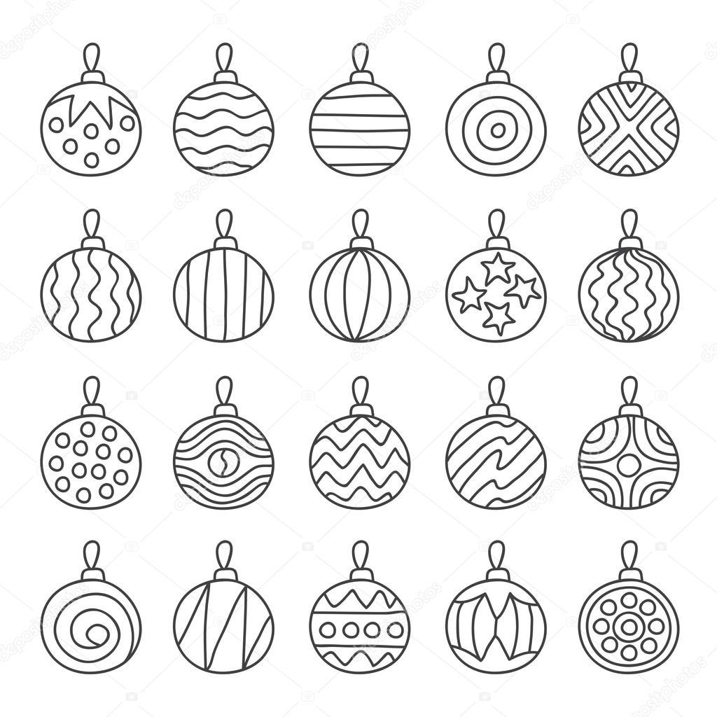 Várias Bolas De árvore De Natal