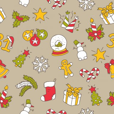Seamless vector pattern of the New Year's icons