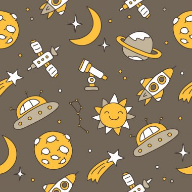 Seamless vector pattern of space icons