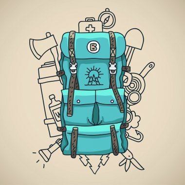 Blue tourist backpack