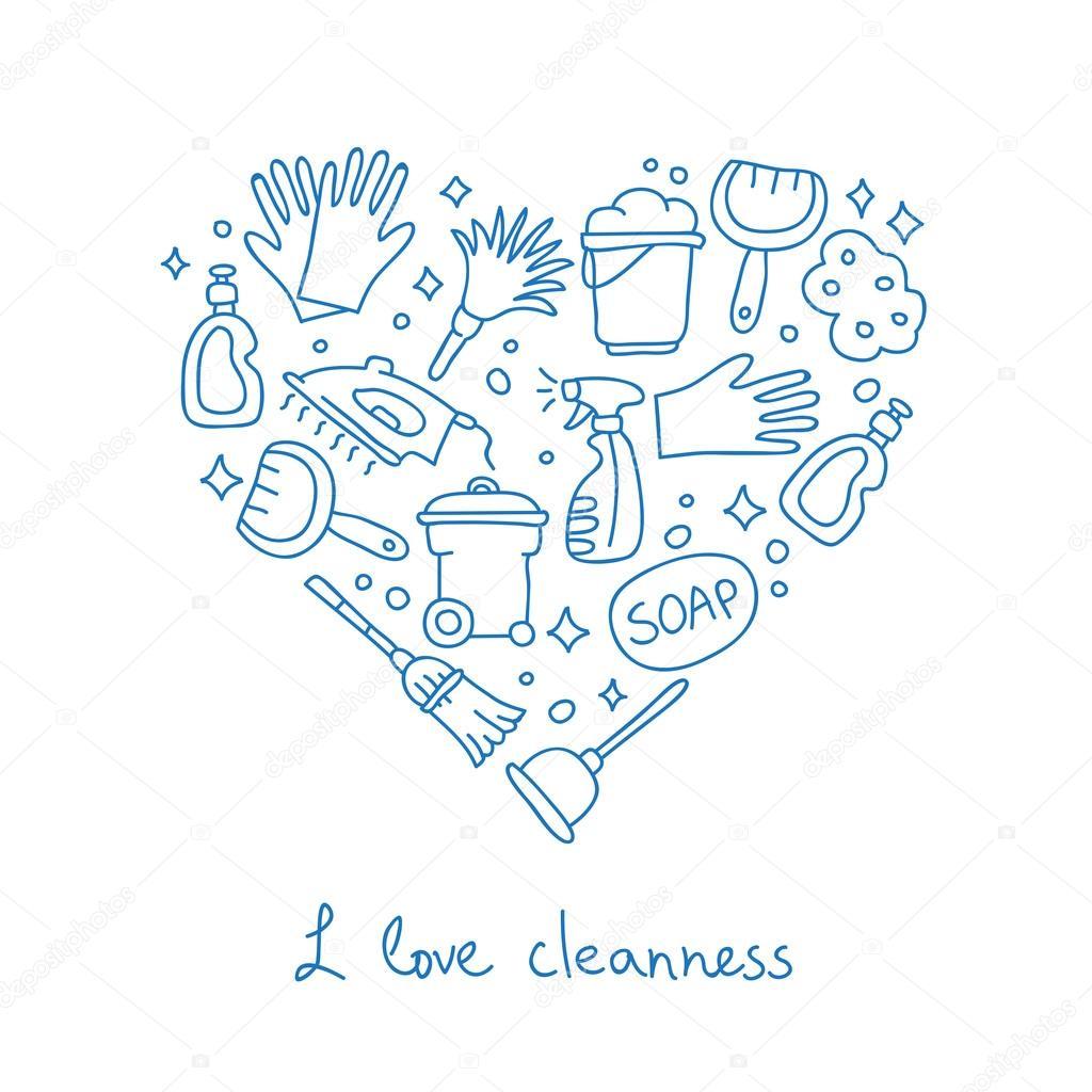 Reinigung. Symbole in der Form eines Herzens — Stockvektor © chekat ...