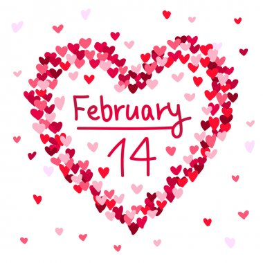 Illustration of the February 14 Valentine's Day heart-shaped. Vector illustration on white background. stock vector