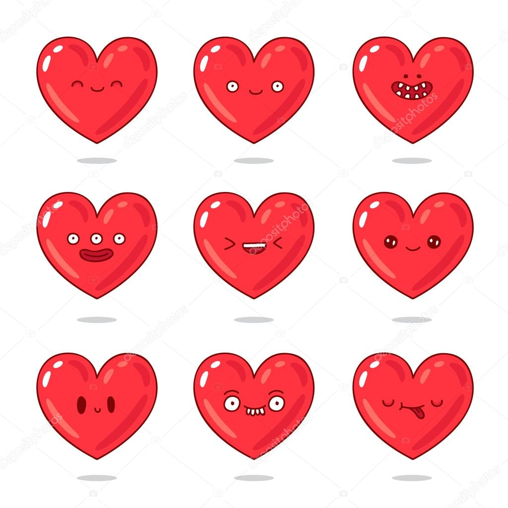 leuke en grappige rode harten met verschillende emoties heart vector all free download heart vector image