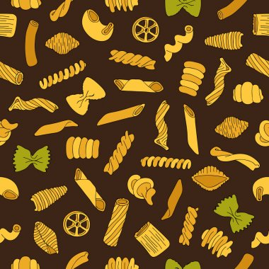 Seamless vector pattern of different types of colored pasta