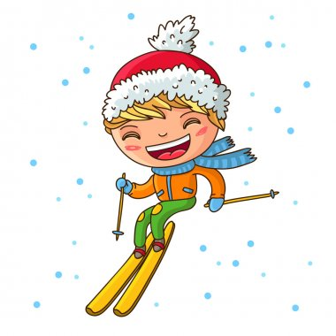 Little cheerful boy skiing in the winter