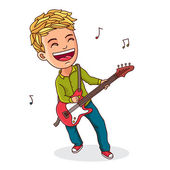 Kid playing electric guitar