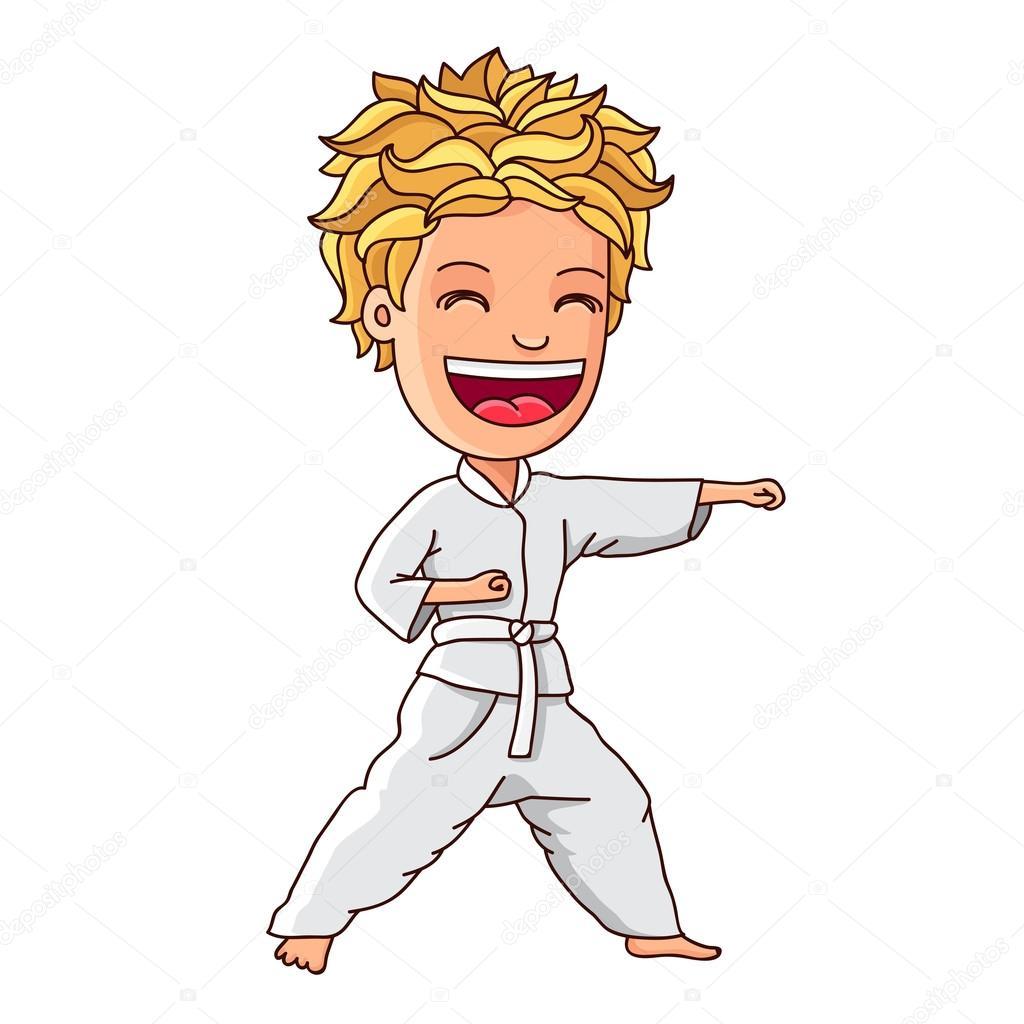 Niño en un traje blanco participa en karate — Archivo Imágenes ...