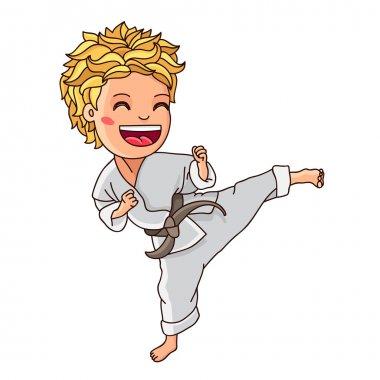 Little karate. Vector illustration