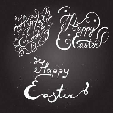 Happy Easter. Hand drawn lettering. Chalk board background.