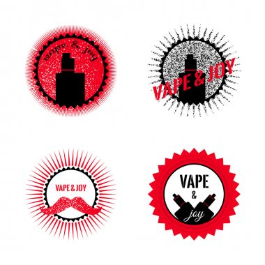 Set of hipster vaping logo design