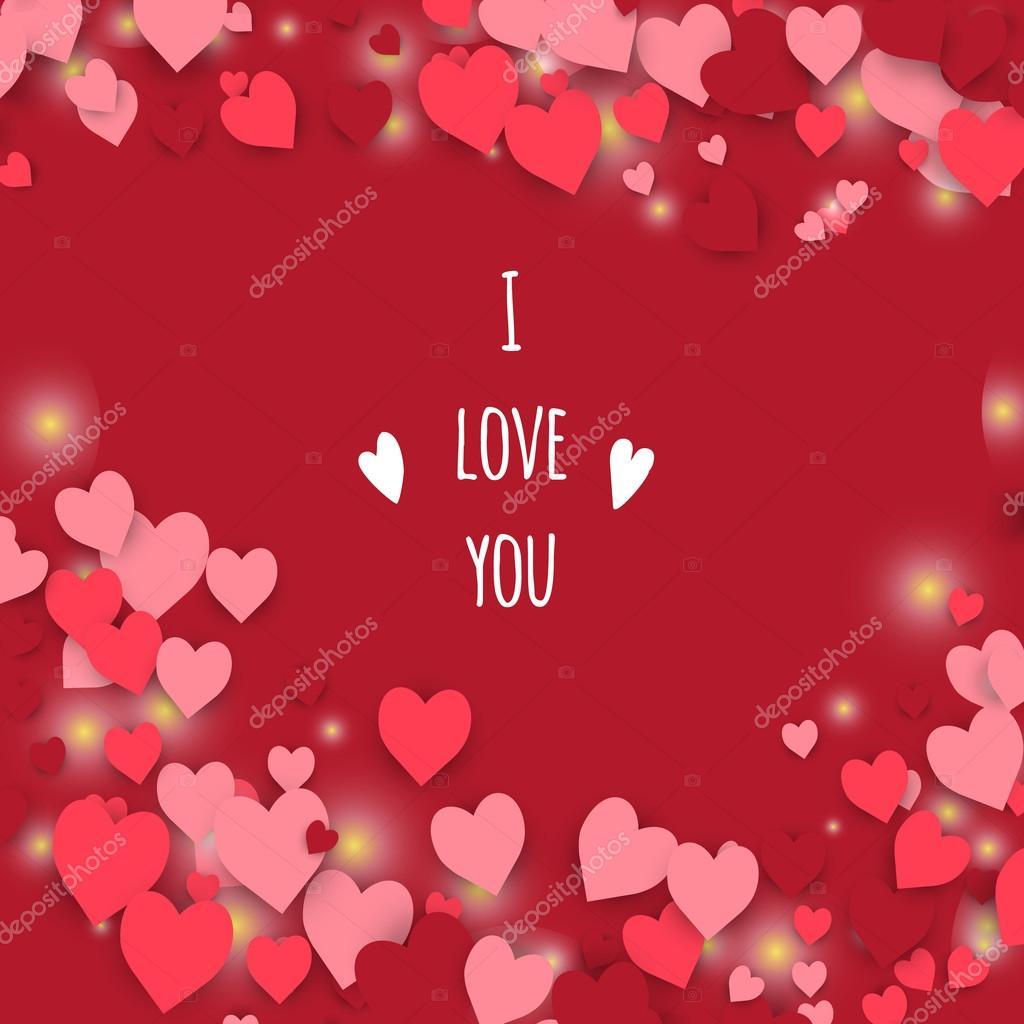 Ich liebe dich. Zusammenfassung Hintergrund mit Rahmen aus Herzen ...