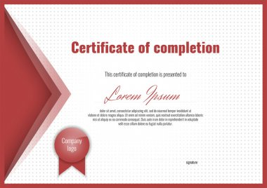 Certificate of completion with halftone background and border