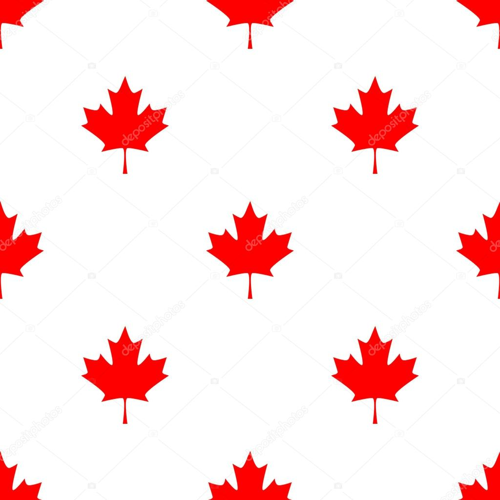 Abstract Canadian Seamless Pattern With Maple Leaf. Simple