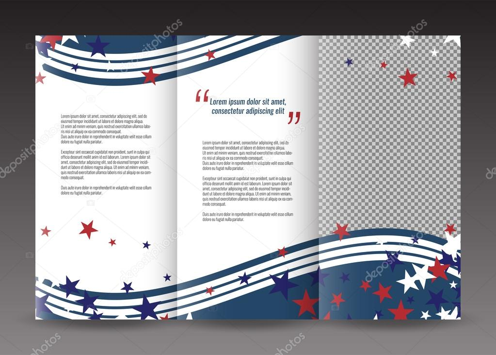 trifold business brochure template design with american theme background stars and stripes stock
