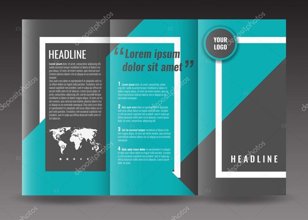 Corporate Trifold Brochure Template Design With World Map