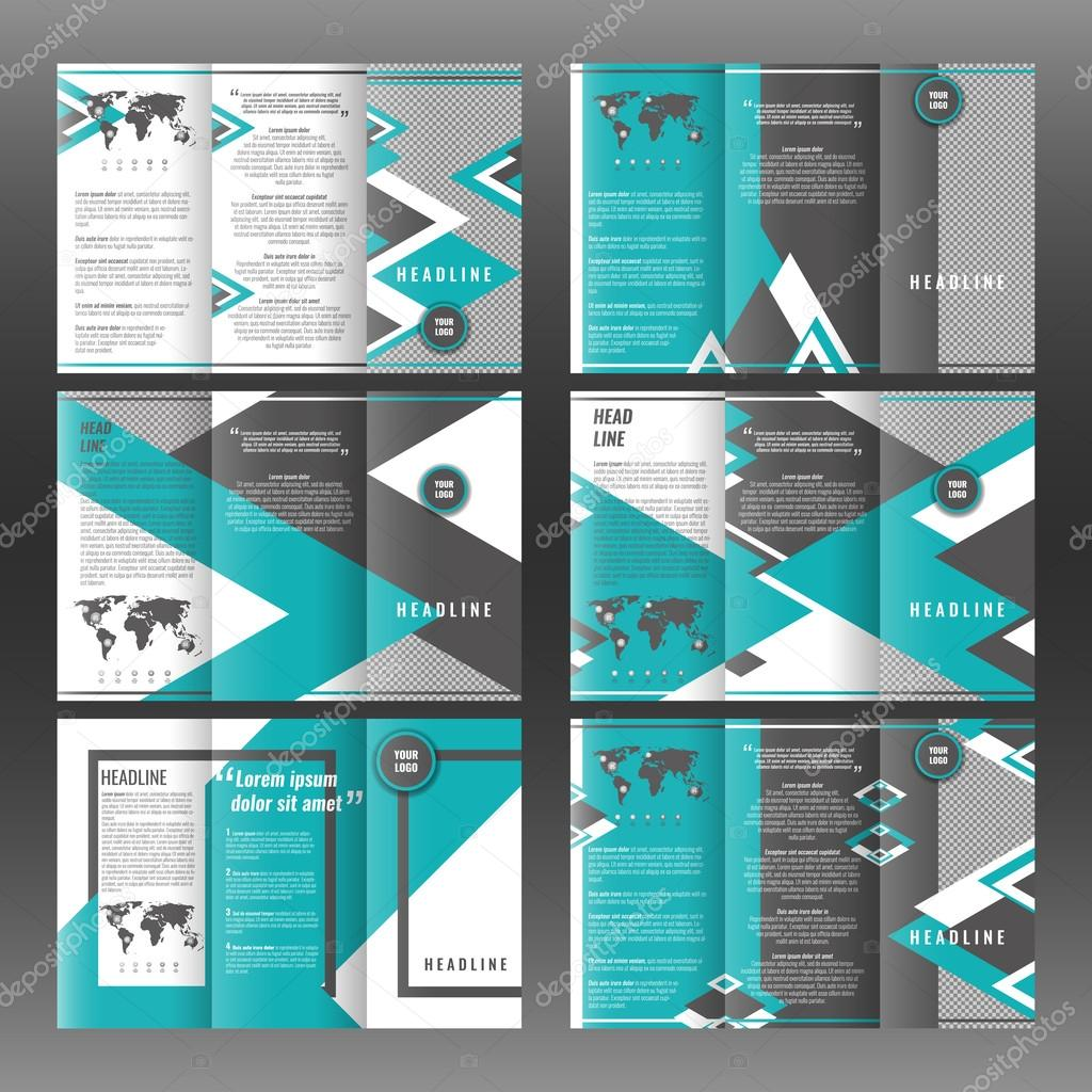 corporate tri fold brochure template design with triangles background with world map infographic element and place for photo stock vector