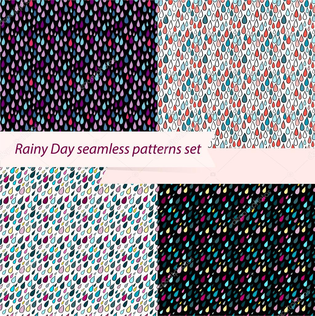 Set of four seamless rainy day patterns.