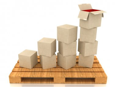 Cardboard boxes and a line graph concept