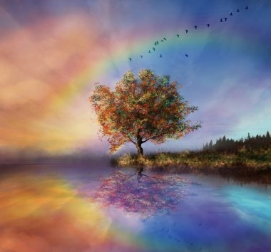 Fantastic landscape with rainbow
