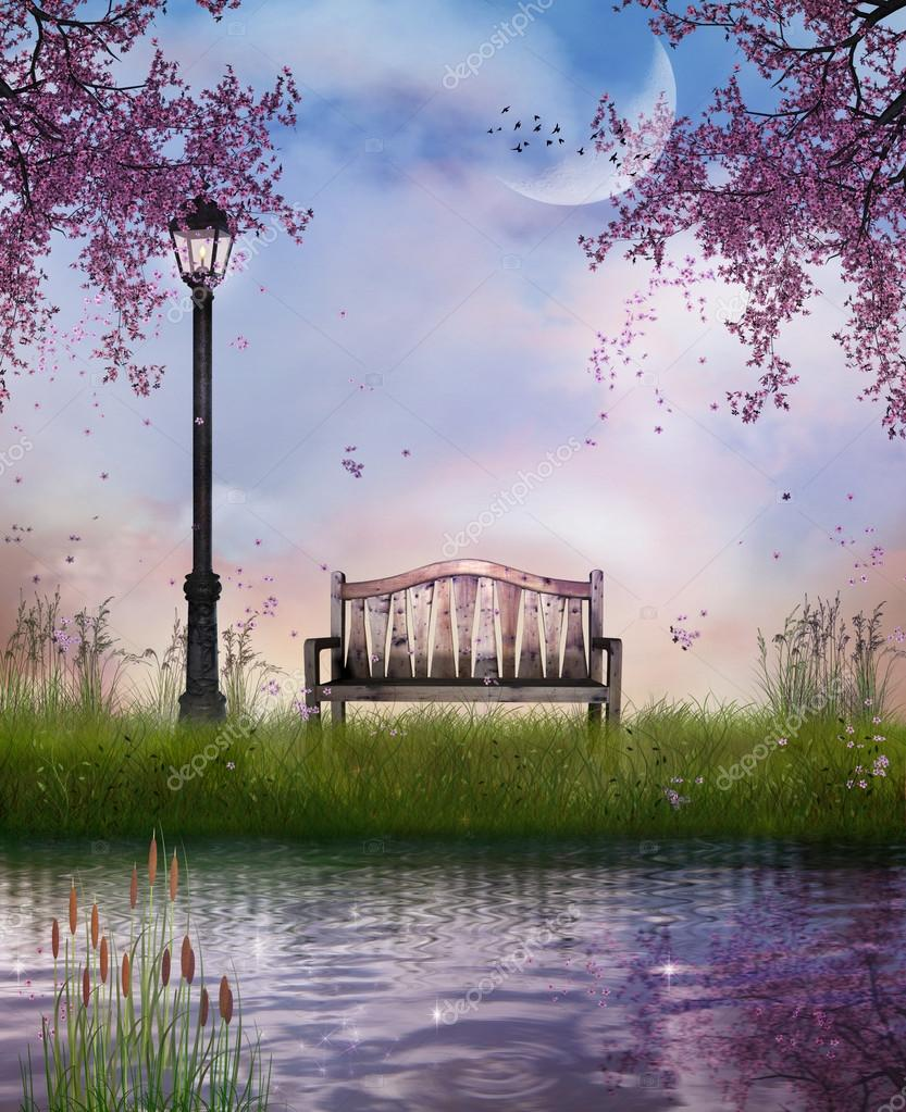 The bench and the river. Elements of this image furnished by NAS