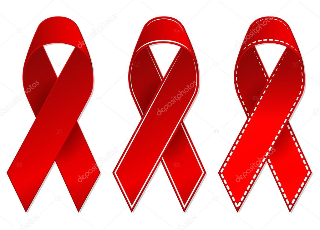 3 HIV Cancer Awareness Red Ribbons Vector Drawings By Muditha88sell