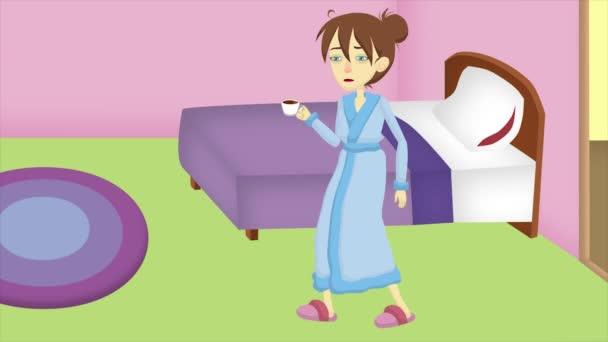 Nemoc, nemocná dívka, chřipka, nachlazení