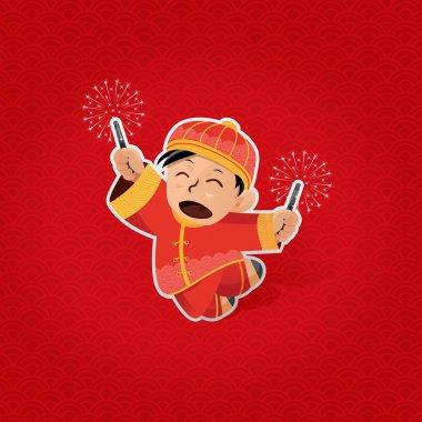 Chinese boy celebrating Chinese New Year