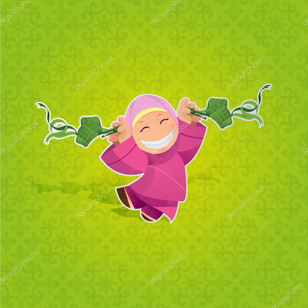 Vector Girl Celebrating Hari Raya Aidilfitri Stock Vector C Louistan 70555409
