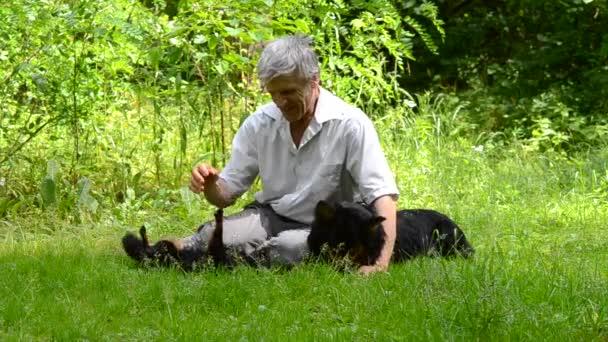 idősebb férfi ül a fűben, és játék-val a kutyák