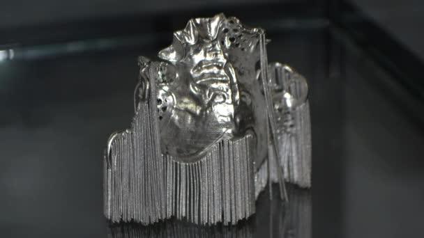 3D model of human teeth printed on 3d printer for metal close-up.