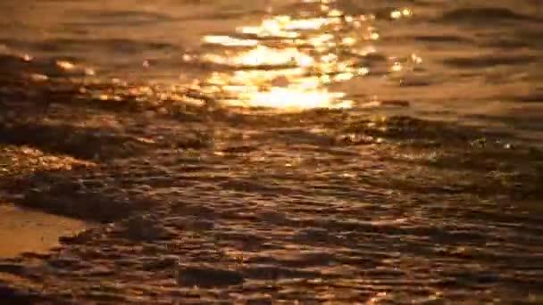 Zblízka zlaté vlny na pláži