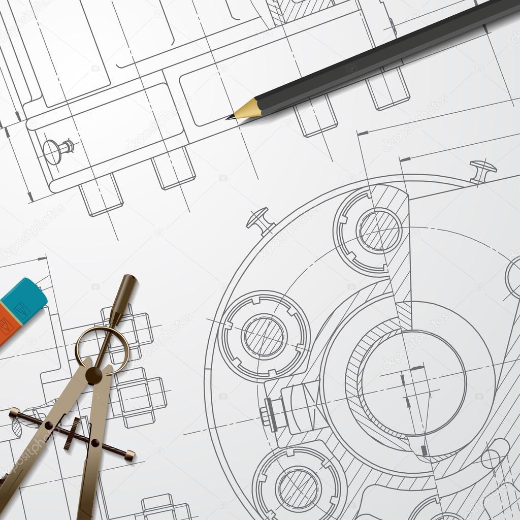 Engineer blueprint of mechanism stock vector maralingstad engineer blueprint of mechanism stock vector malvernweather Images