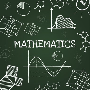 Chalk drawing mathematics symbols on blackboard