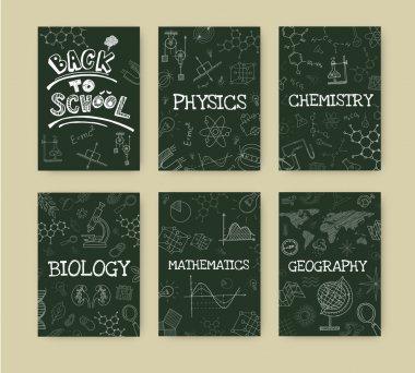 Set of six school subjects blackboards